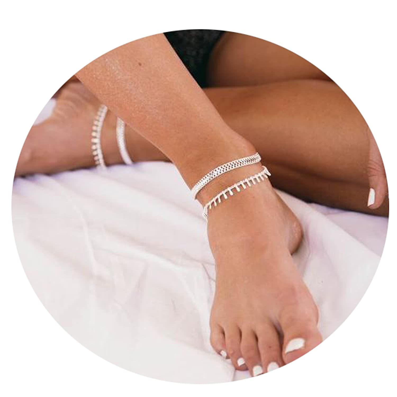 Befettly Womens Girls Adjustable Double Layer Handmade Dainty Anklet 14K Gold Fill Boho Beach Foot Chain Wafer Boho AnK-1-GD
