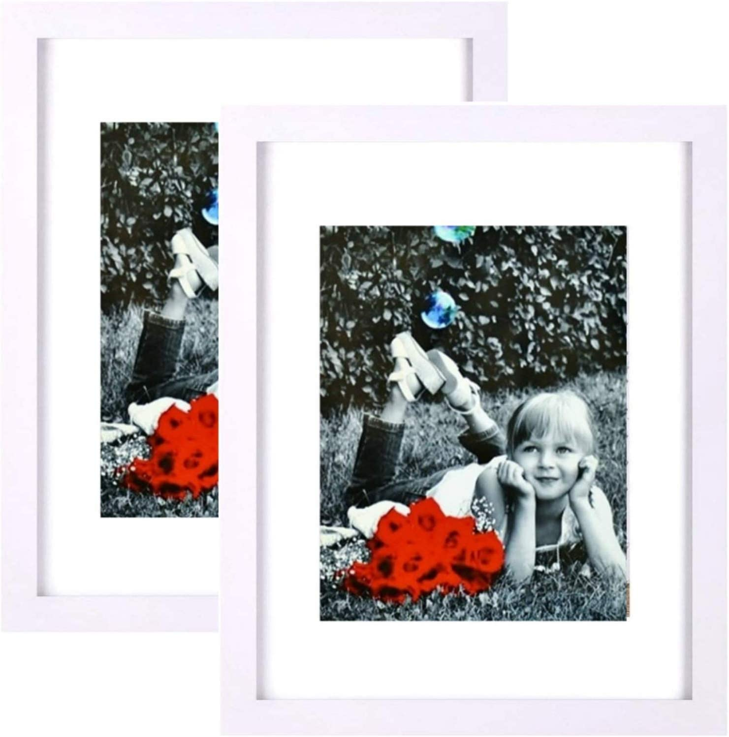 """Tasse Verre 9x12 Inch Picture Frame - HIGH Definition Glass Front Cover - Displays 9 by 12"""" Poster Pic w/o Mat or an 6x8 Photo w/Mat - Vertical or Horizontal & Comes Ready to Hang (9x12 White 2-Pack)"""