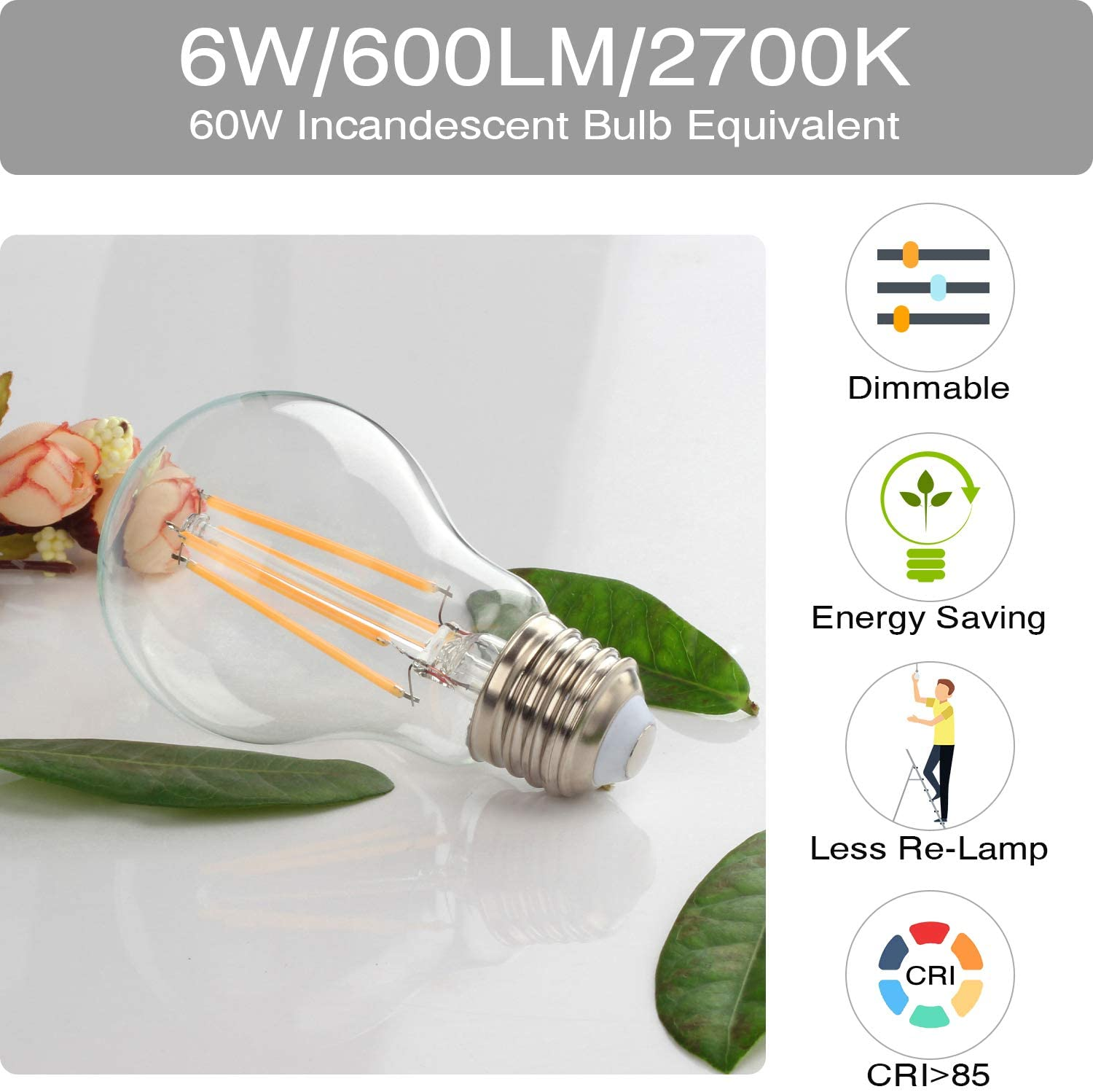 Boncoo Vintage LED Edison Bulb Dimmable 6W A19 LED Light Bulbs 2700K Soft White 600LM Led Filament Bulb 60W Incandescent Equivalent E26 Medium Base Decorative Clear Glass for Home Cafe Office 6 Pack