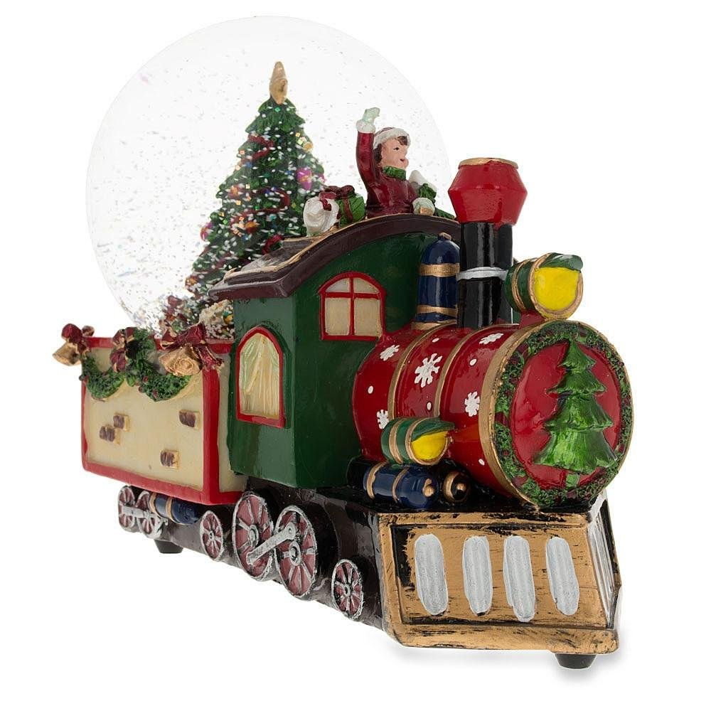 8.3'' (L) Train With Cheerful Boys And Christmas Tree Full Of Gifts Music Box Snow Globe