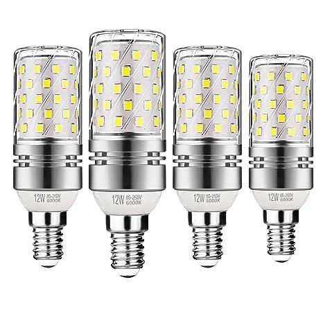 Gezee LED Plata Maíz Bombillas 12W E14 6000K Blanco Frío LED Candelabros bombillas, 100 W