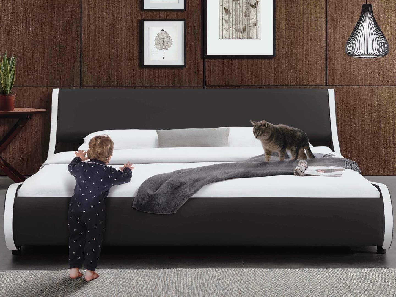 Allewie Modern Low Profile Wave Like King Size Platform Bed Frame