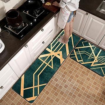 Amazon.de: Küchenläufer Küchenmatte Nordischer Stil Grün ...