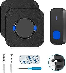 Wireless Doorbell,Rimposky Waterproof Door Bells & Chimes Wireless Kit,Over 300-Foot Range,55 Door Bell Chime,5 Volume Levels with LED Flash – Wireless Doorbell for Home