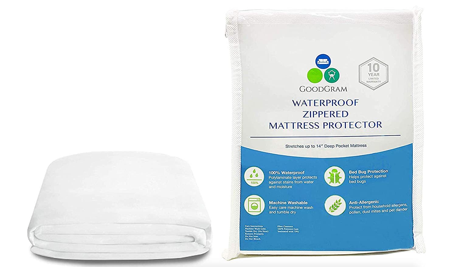 Queen GoodGram 100/% Waterproof Bed Bug Blocker Anti Allergenic /& Anti Microbial Fully Encased Zippered Deep Pocket Mattress Cover Protectors Assorted Sizes