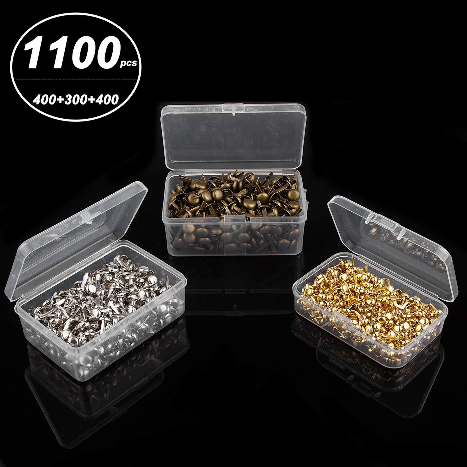 CenterZ 1100 Pcs 3 Sizes Mini Brads with 3 Clear Storage Box, Metal Paper Fasteners for Scrapbooking Recollections, Craft Decorative (400pcs 8mm Gold, 400pcs 12mm Silver, 300pcs 15mm Brass Brad Pins)