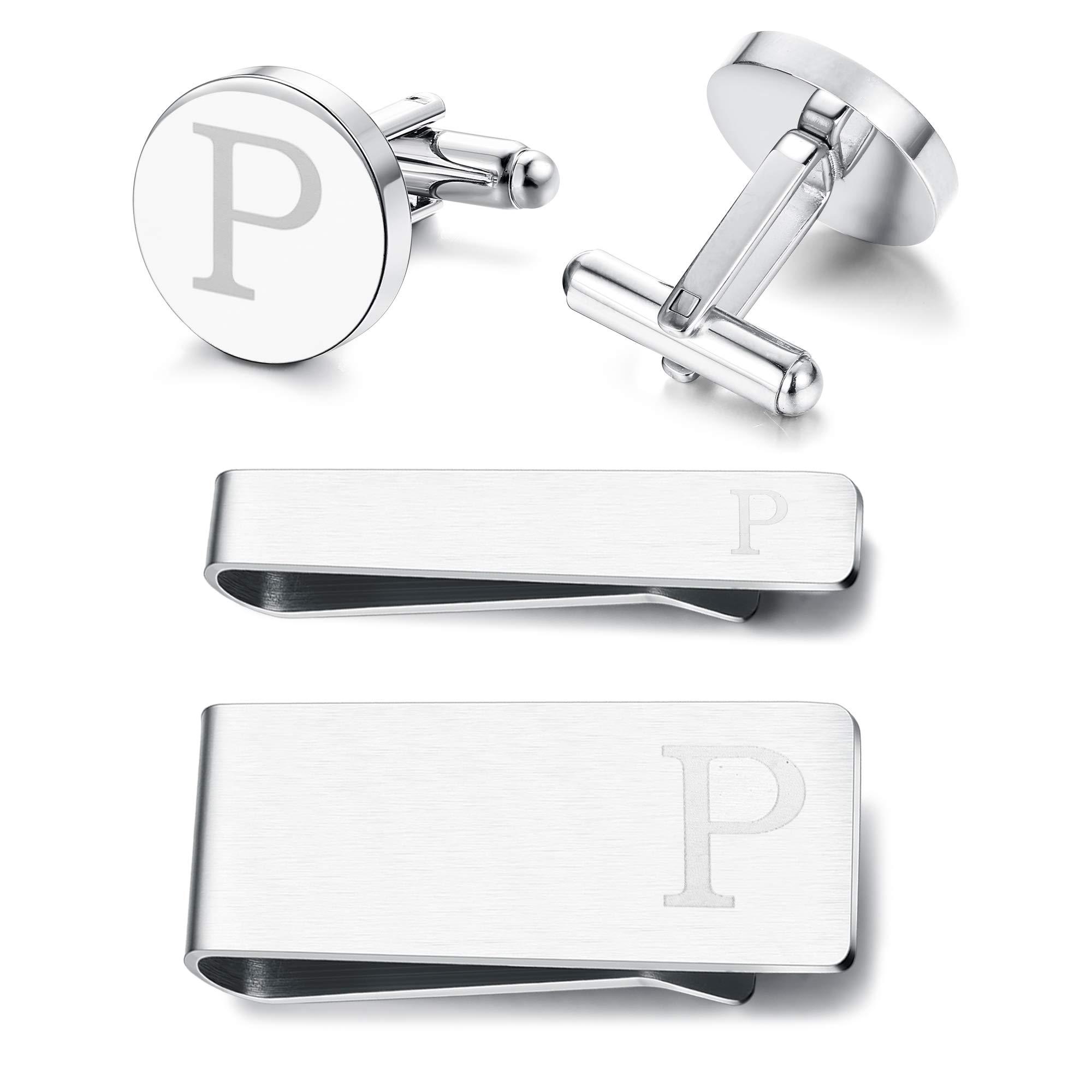 Subiceto Firm Men's Cufflinks Tie Bar Money Clip Set 4 Pcs Engraved Alphabet P Wedding Party Business Gifts