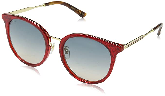 182d1a79912 Gucci GG0204SK 005 Red Gold GG0204SK Round Sunglasses Lens Category 2 Size  56