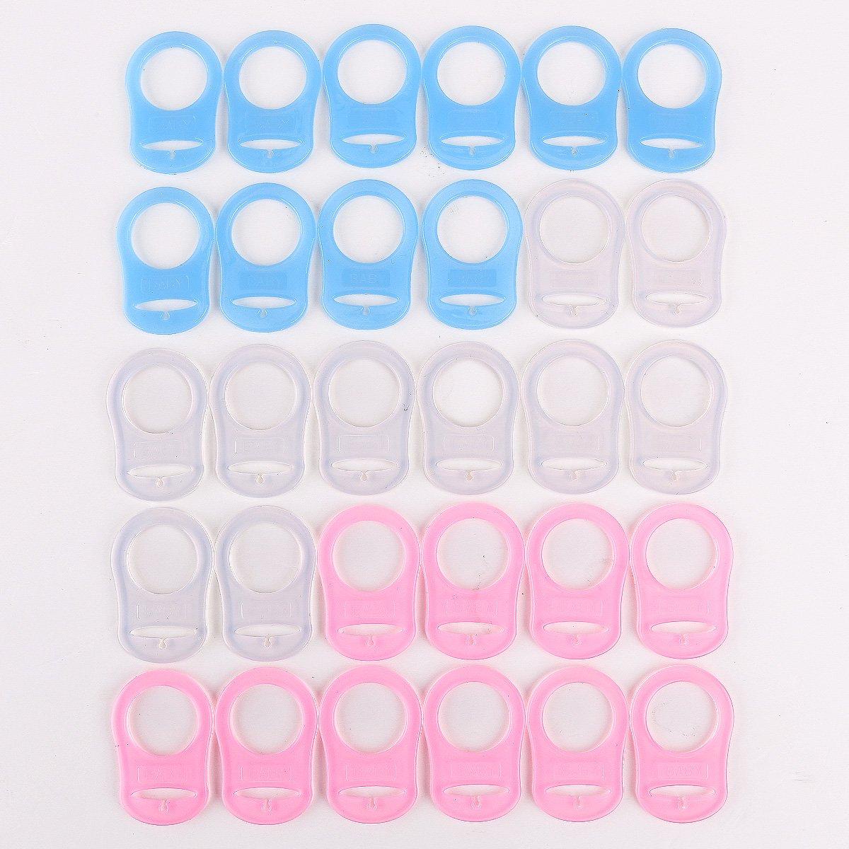 30pcs Annueau de sucette t/étine silicone tranparent blanc bleu rose