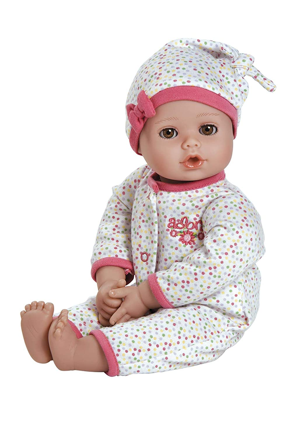 """Adora PlayTime Baby Dot Vinyl 13"""" Girl Weighted Washable Play Doll Gift Set with Open/Close Eyes for Children 1+ Includes Bottle Cuddly Snuggle Soft Toy"""