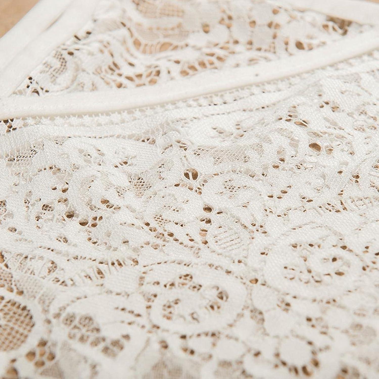 Tosangn Women Hollow Translucent Underwear Sheer Lace Frenum Strap Lingerie Bra Tops (White, L)