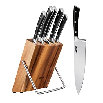 aicok kitchen knife set stainless steel chef knife block set 6 piece knives set. beautiful ideas. Home Design Ideas