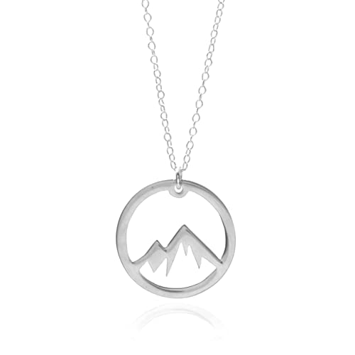 Amazon silver mountain necklace a sterling silver circle silver mountain necklace a sterling silver circle mountain pendant necklace the mountains are calling mozeypictures Images