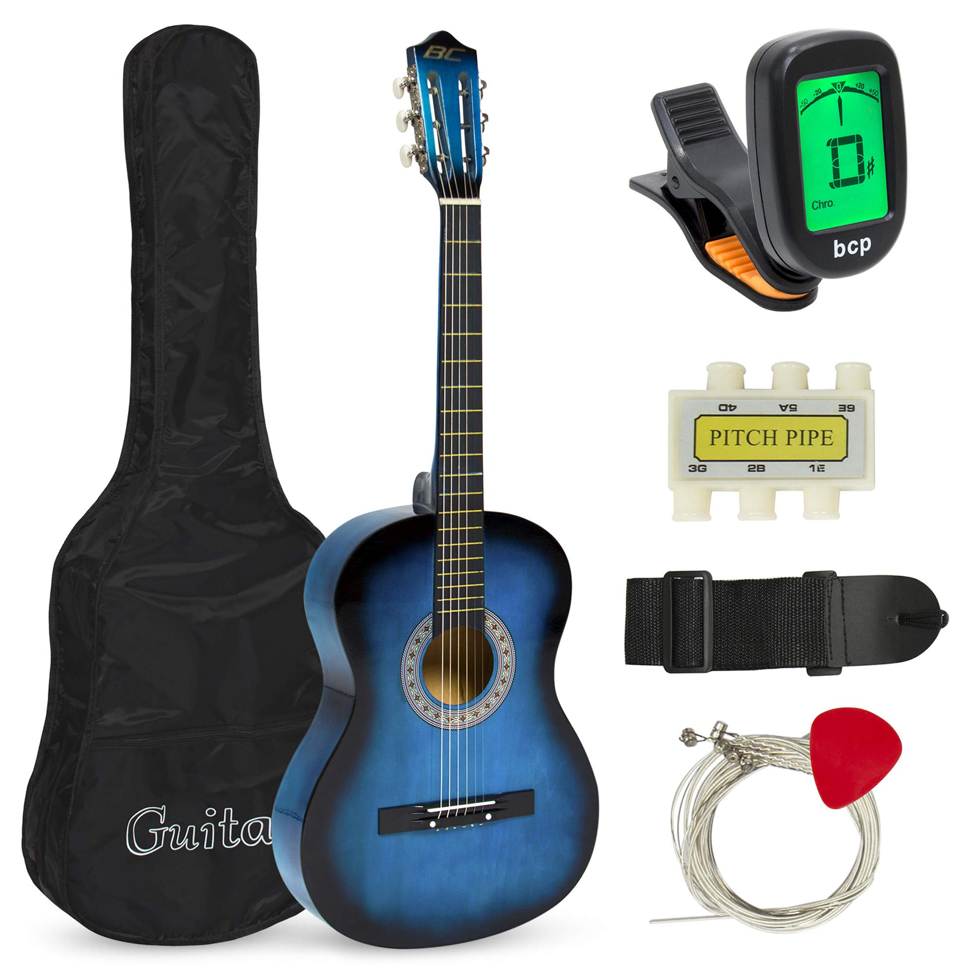 Best Choice Products 38in Beginner Acoustic Guitar Starter Kit w/ Case, Strap, Digital E-Tuner, Pick, Pitch Pipe, Strings - Blue by Best Choice Products