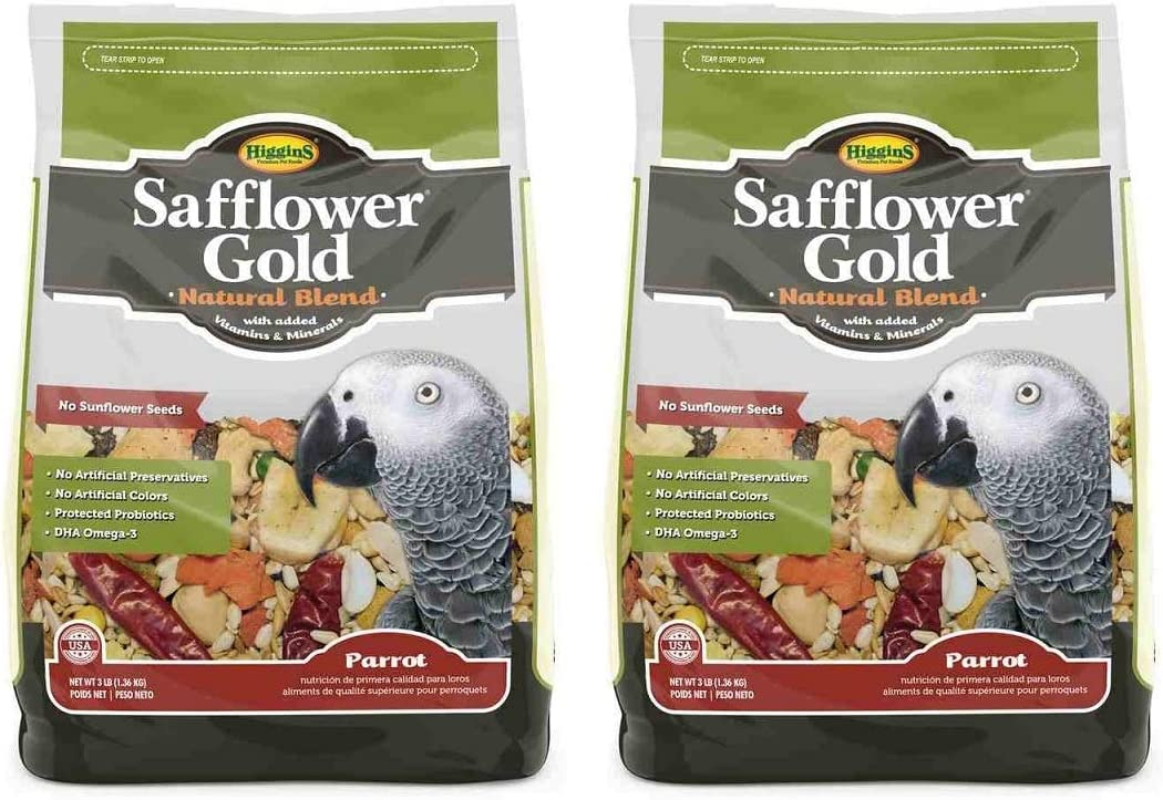 Higgins Safflower Gold Parrot Food 3lbs Bags (Pack of 2)