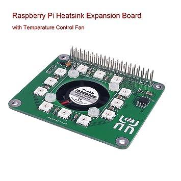 MakerHawk Raspberry Pi Heatsink Expansion Board with Temperature Control  Fan, LED Dot-Matrix and Real-Time Clock Lattice RTC for Raspberry Pi 3  Model