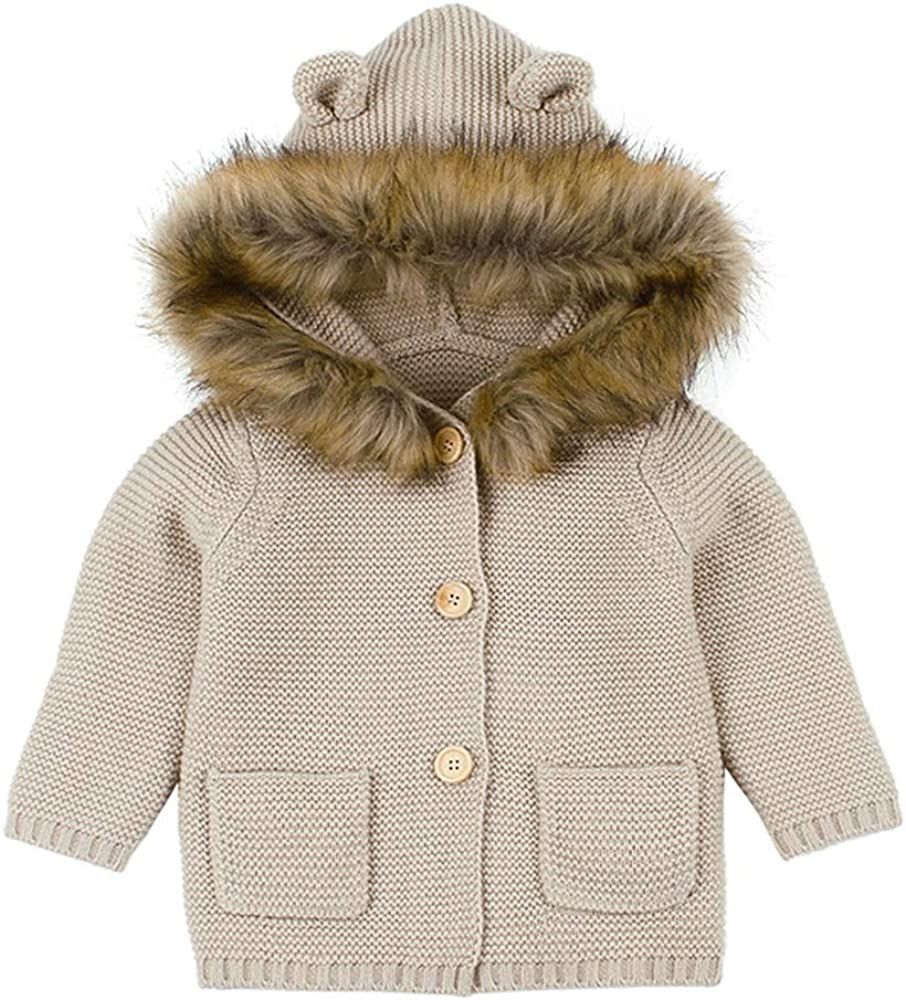 Toddler Kids Boys Girls Clothes Button Hooded Knitted Sweater Cardigan Coat Tops