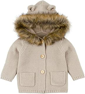 Anxinke Infants Casual Solid Color Warm Hooded Sweater Coat