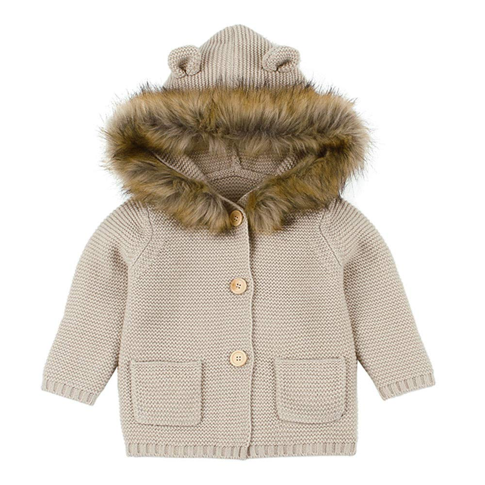 MERICALToddler Baby Infant Coat for Baby Boys Girls Furry Collar Hooded Knitted Tops Warm Outerwear Clothes