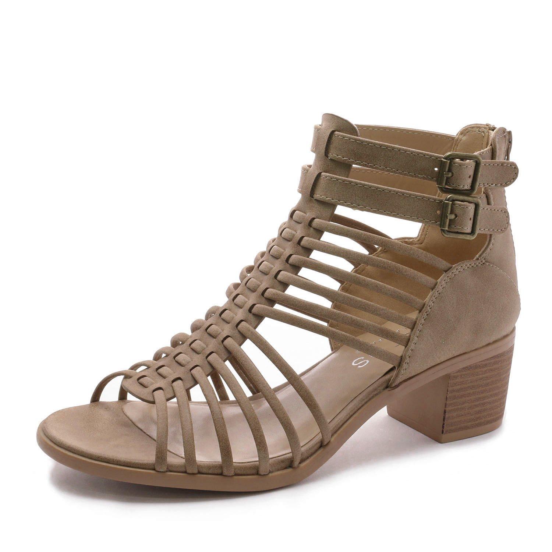 TOETOS Women's Ivy_02 Nude Fashion Block Heeled Sandals Size 11 B(M) US