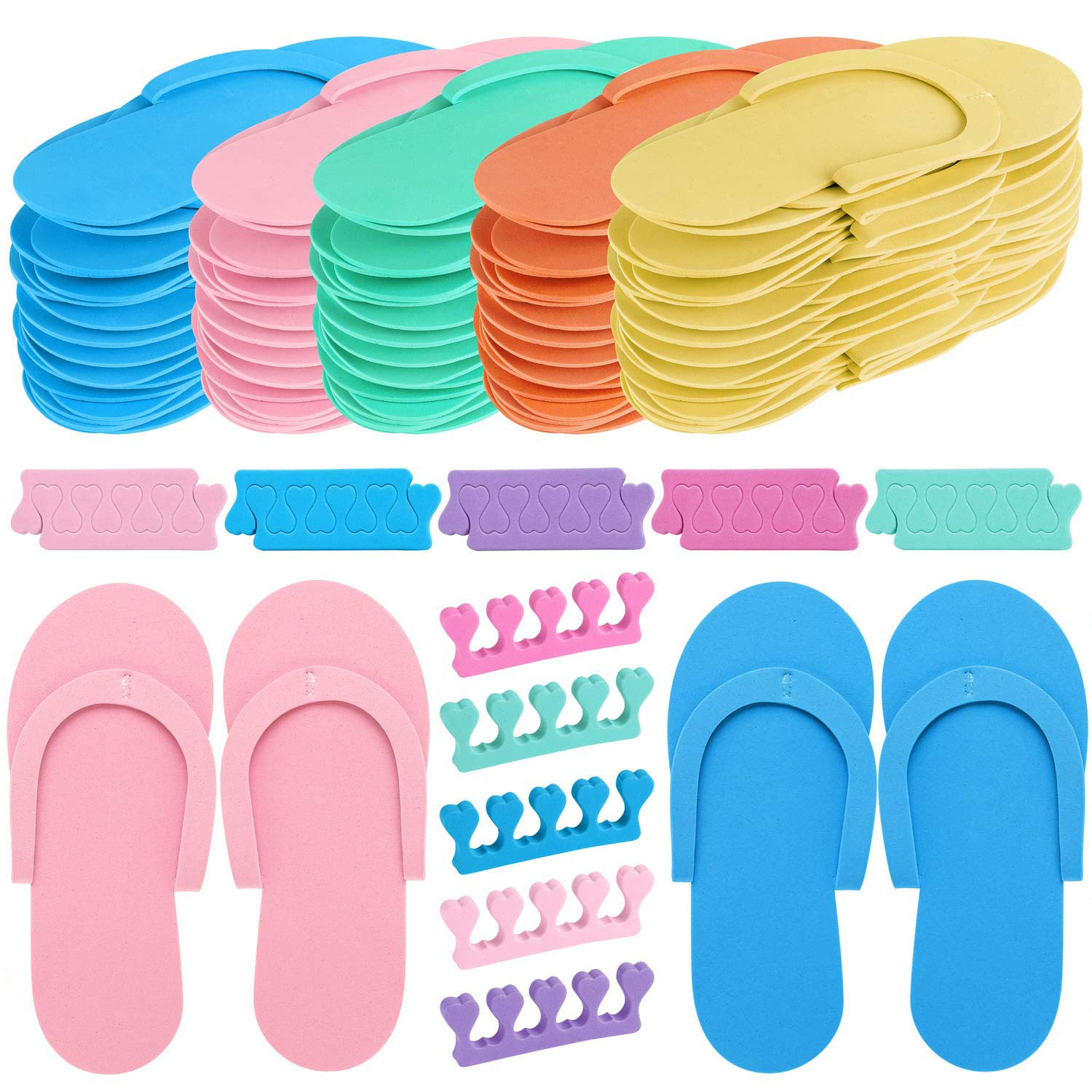 24 Pair Random Color Spa Flip Flops Disposable Slippers for Pedicures with 24 Pair Toe Spacers Separators Bulk Soft Toe Cushions Applying Salon Nail Tool by Tbestmax
