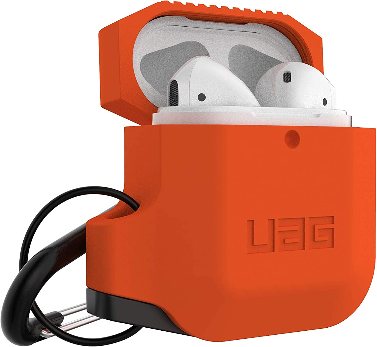 1st Gen /& 2nd Gen Black//Orange URBAN ARMOR GEAR UAG Compatible with AirPods Full-Body Protective Rugged Water Resistant Soft-Touch Silicone Case with Detachable Carabiner