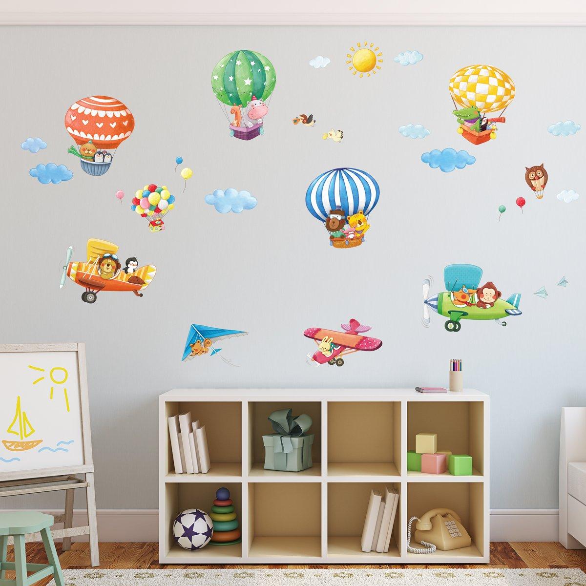 Decowall dat-1406b1506b mongonfiere con animales y biplani pegatinas de pared decoraci/ón pared pegatinas murales sal/ón Asilo Nido Camera de cama para ni/ños