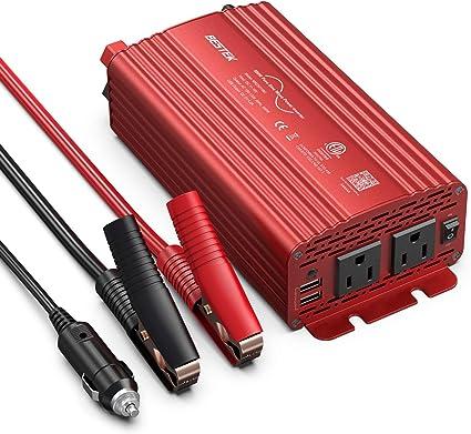 inversor de corriente de 500 W//convertidor de coche DC 12V a 110V Puerto de carga de CA dual y puertos USB 2.1A Adaptador de coche USB dual