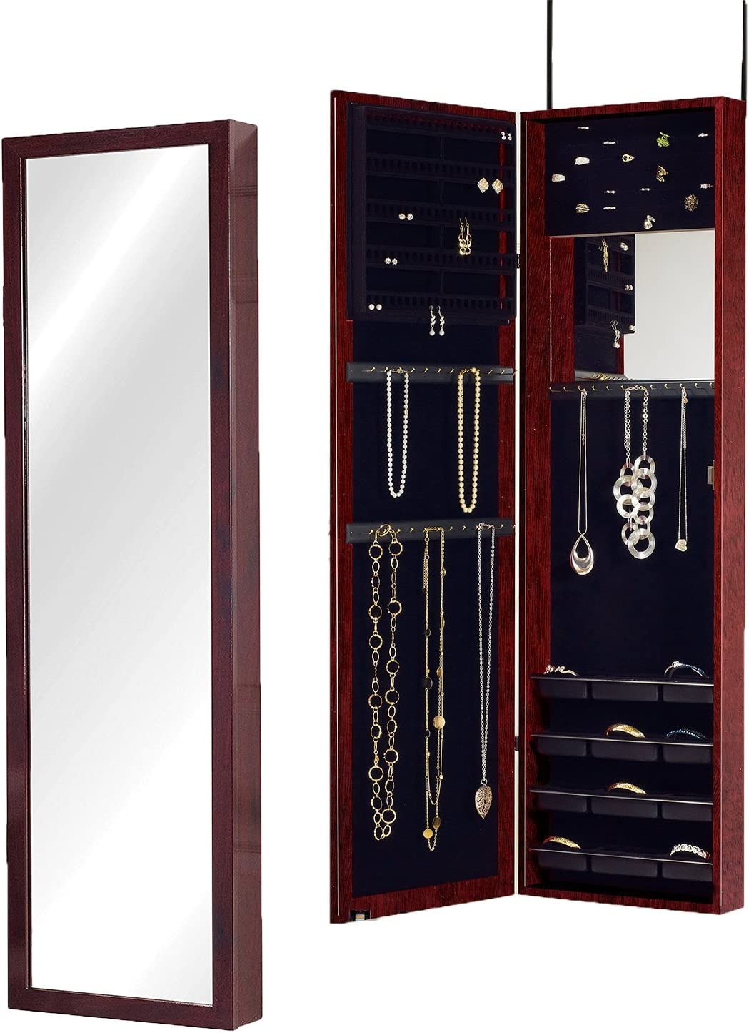 Plaza Astoria Over The Door Wall Mount Jewelry Armoire With Full Length Mirror Lined Storage Interior Vanity Mirror Cherry Home Kitchen Amazon Com