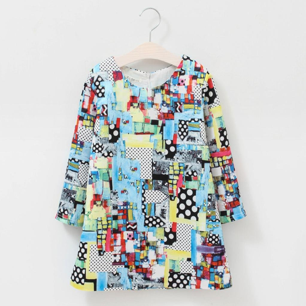 WARMSHOP Stylish Princess Girls Printing Long Sleeve O-Neck Unique Design for Party/&Daily Zipper Floral Dress
