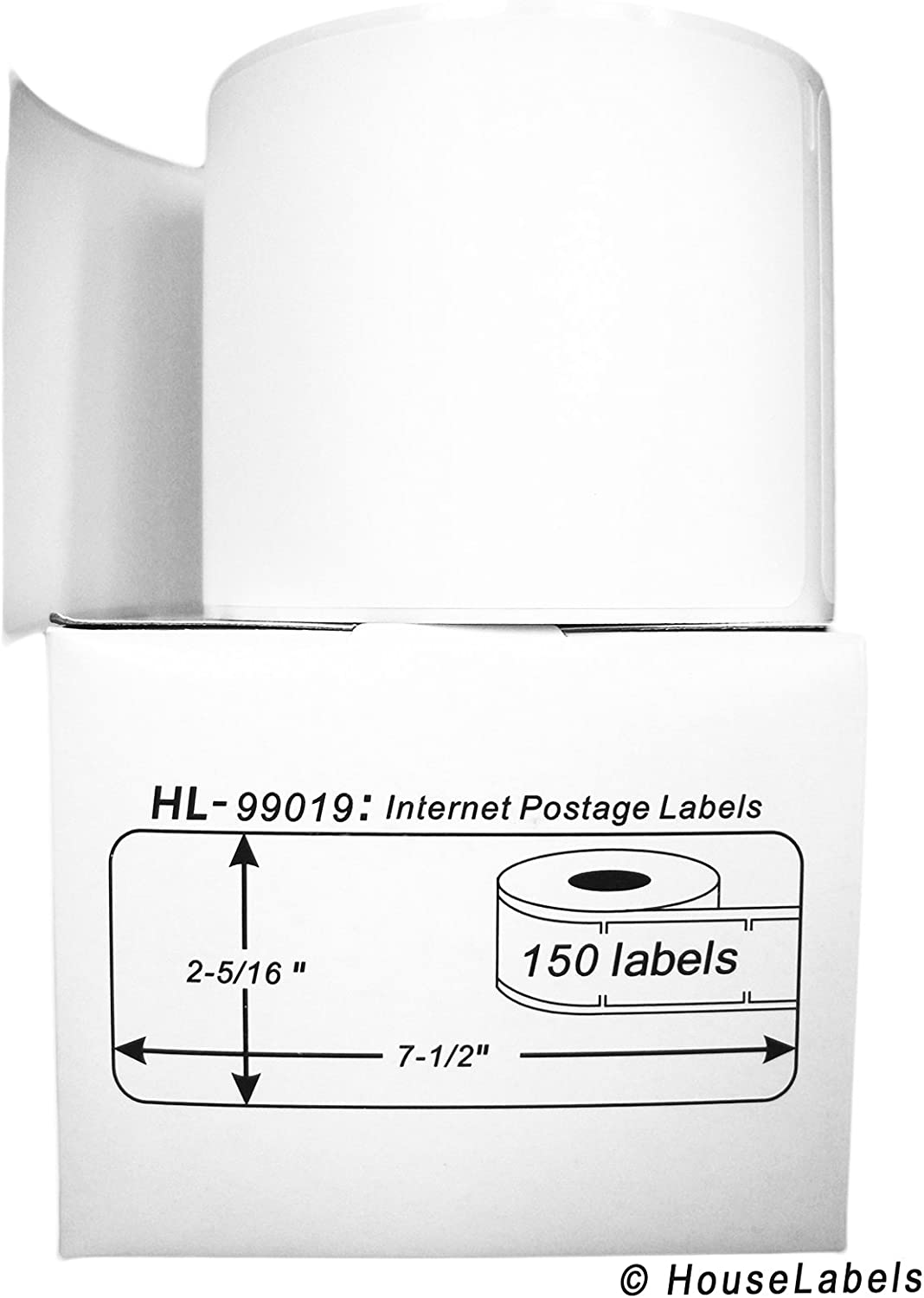 BPA Free! 12 Rolls; 150 Labels per Roll of HouseLabels Compatible with DYMO 99019 1-Part Internet Postage Labels 2-5//16 x 7-1//2