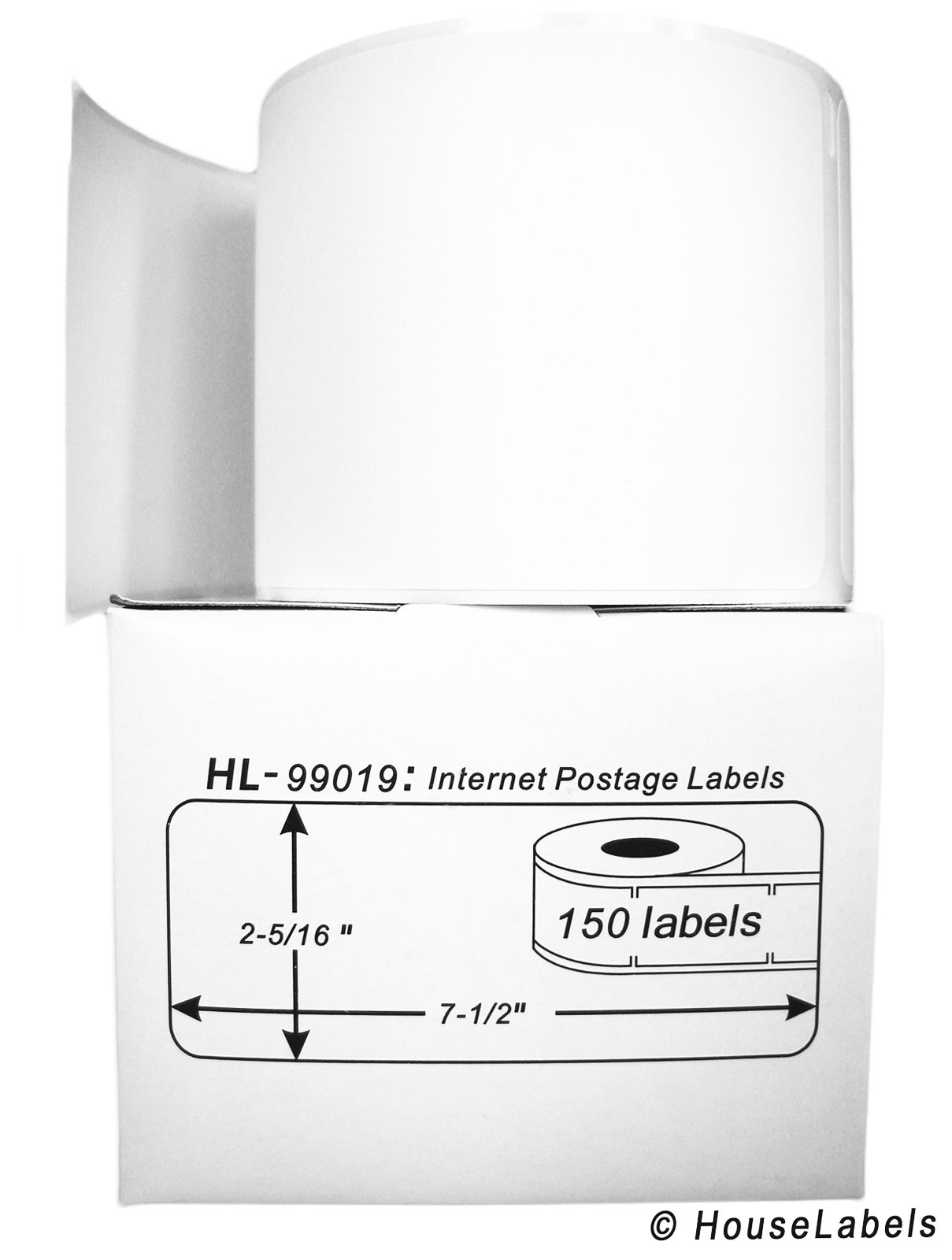 50 Rolls; 150 Labels per Roll of DYMO-Compatible 99019 1-Part Internet Postage Labels (2-5/16'' x 7-1/2'') - BPA Free! by HouseLabels