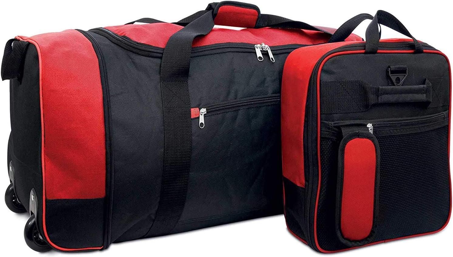 HOCHSTE Sac de Voyage Pliable /à roulettes l/éger 80 l Multicolore Noir//Rouge Taille Unique