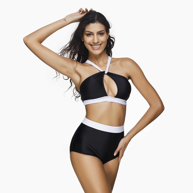 1a9897edf46a0 Amazon.com  BaronHong Women Two Pieces Swimsuit Bathing Suits Fashion Sexy  Black White Monokini Bikini  Clothing