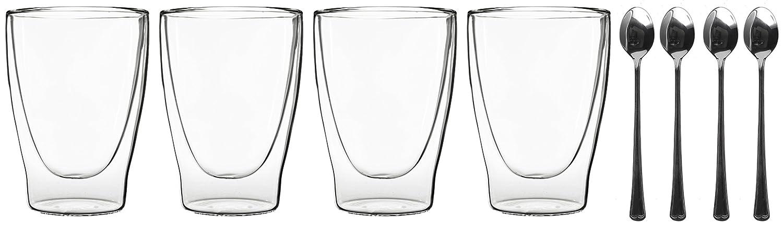 th/é glac/é 4/Cuill/ères/ convient /également pour th/é duos by Feelino jus eau Cola /thermiques Verres effet de suspension Ensemble de 4/verres x 310/ml double paroi Cocktails