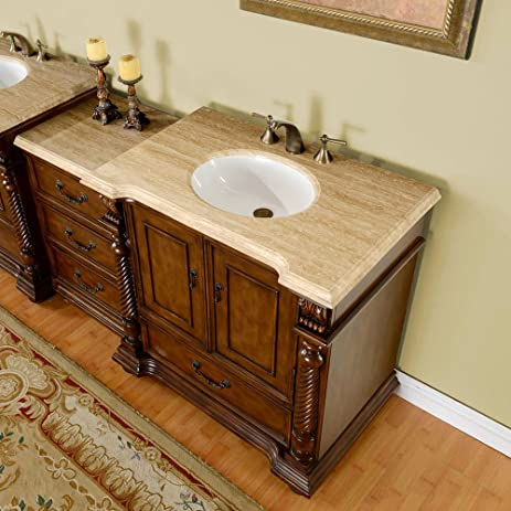 57u0026quot; Single Sink Travertine Top Bathroom Vanity Modular 2 Piece Cabinet  Furniture 275T