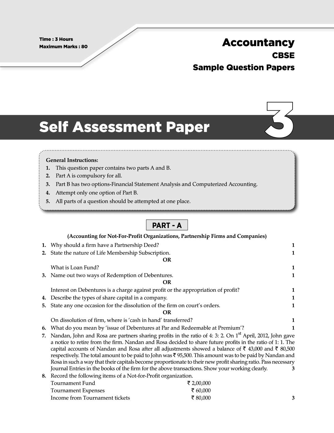 Oswaal CBSE Sample Question Papers Class 12 Accountancy For March