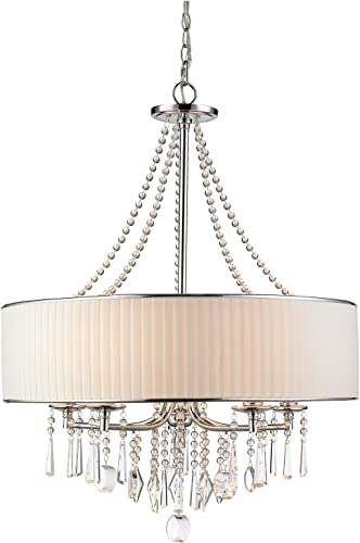 CLAXY Ecopower Lighting Crystal Metal Drum Pendant Lighting Chandelier