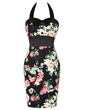 Belle Poque®Womens Vintage Floral Cap Shoulder Bodycon Cocktail Fishtail Dresses (14, ...