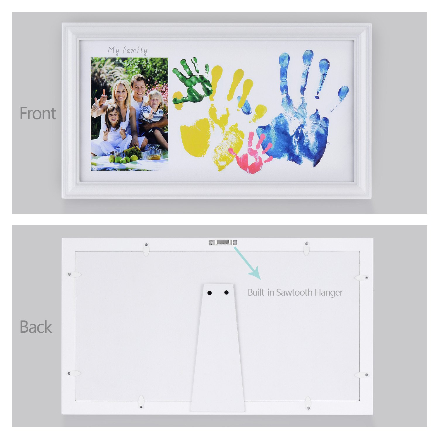 DIY Family Photo+ Family/Baby Handprints/Footprints Kit with 10 X 17'' Elegant White Wood Picture Frame, Non-Toxic Watercolor Paints, Baby Clean-Touch Ink Pad, Baby Registry Shower Keepsakes Gifts by NWK (Image #3)