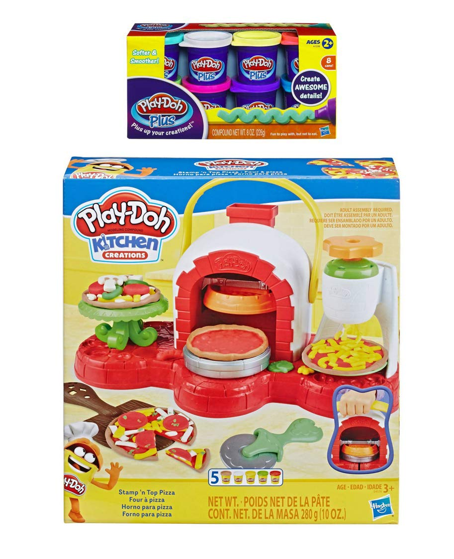 Play Doh Stamp 'n Top Pizza Oven Toy + Play Doh Plus Compound