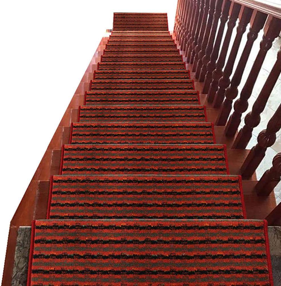 Alfombra De Escalera Rectangular Roja, Alfombrilla Antideslizante Autoadhesiva, Alfombra Insonorizada para Escalera con 3 Cm Plegables, Lavable,7pc-65x24cm: Amazon.es: Hogar