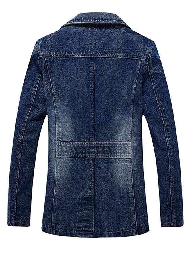 Hombres Hombre Vintage Decal Collar Denim Jeans Chaquetas Trench Coat Solapa De Manga Larga Vintage Slim Fit Denim Jacket Coat Abrigos Otoño Invierno: ...