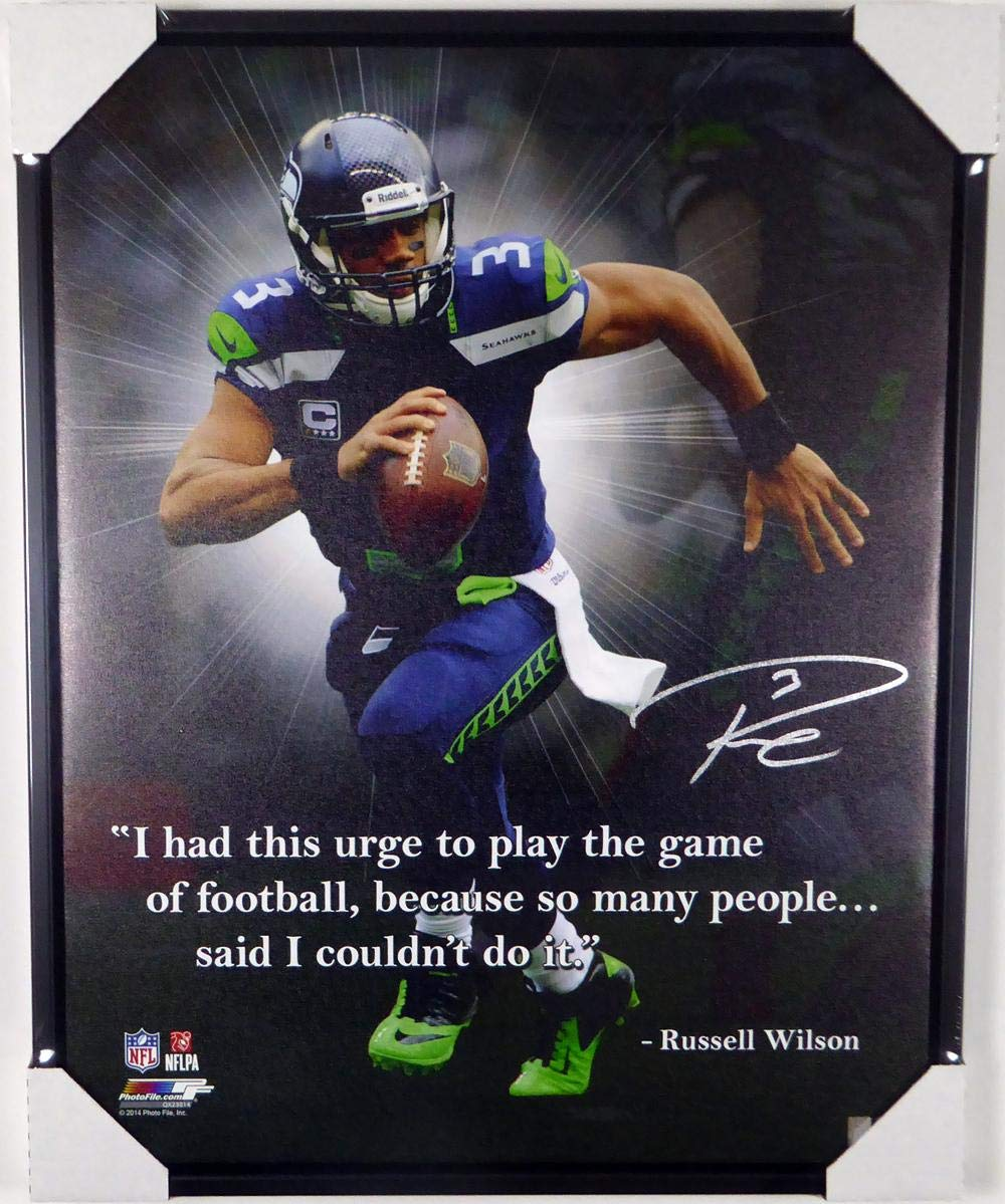 Russell Wilson Autographed Framed 24x30 Canvas Photo Seattle Seahawks Quote RW Holo Stock #125714 Autographed NFL Art