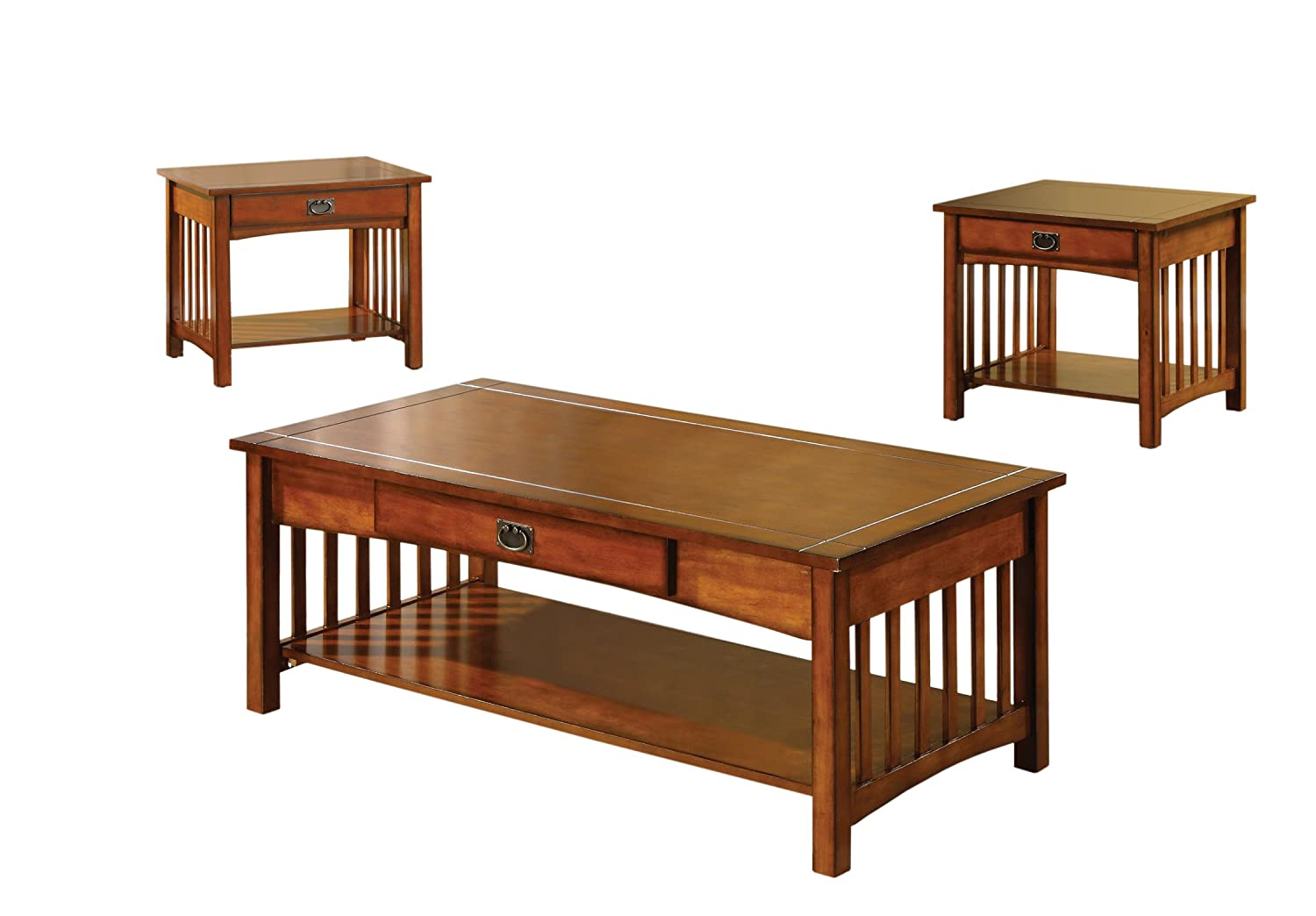 Amazon.com: Furniture Of America Francia 3 Piece Mission Style Table Set,  Antique Oak Finish: Kitchen U0026 Dining