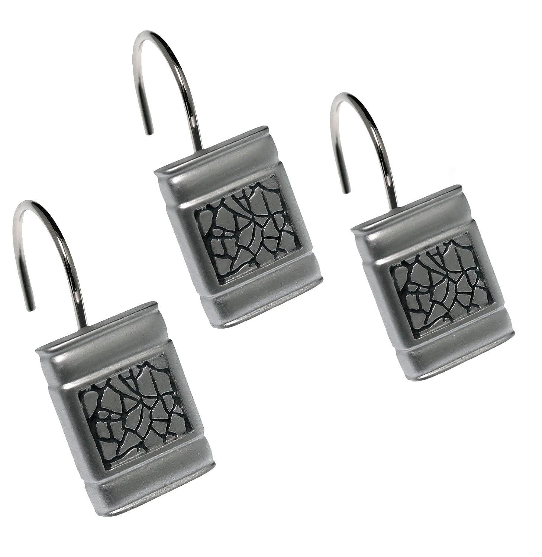 Amazon Popular Bath Sinatra Silver Shower Curtain Hooks Set Of 12 Home Kitchen