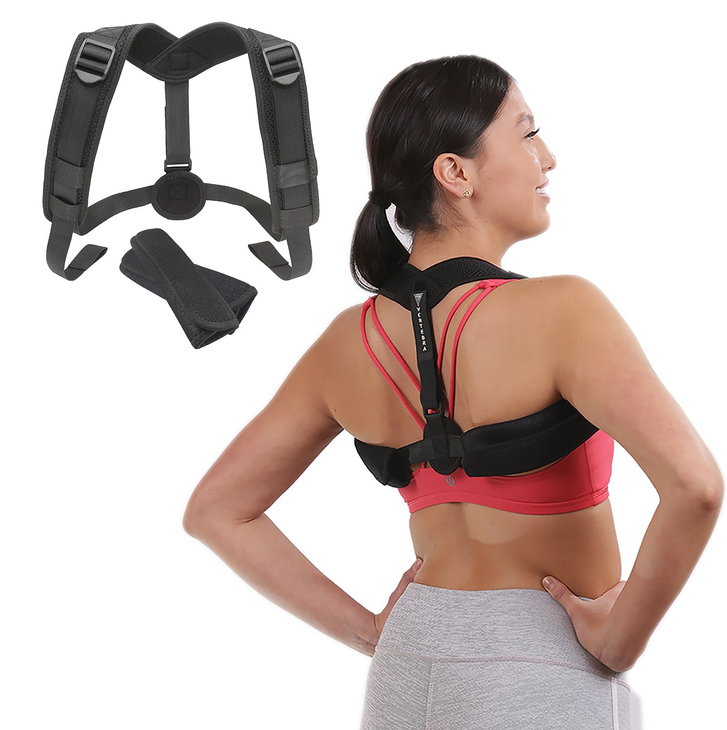 Adjustable Posture Corrector by Vertebra - Discreet under clothes design for women and men - Upper Back Brace helps support and correct posture to relieve neck and back pain. by Vertebra