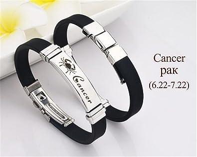 6512078eae848 Amazon.com: Dapengzhu Stainless Steel Silicone Zodiac Sign Bracelet ...