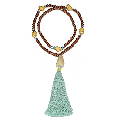 eManco Statement Necklaces Tassel Long Pendant Turquoise Beads Decorations Jewellery for Women PkFN98FH9