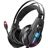 Audífonos Gamer Auriculares para juegos Auriculares PS5 con micrófono con cancelación de ruido de sonido envolvente 7.1 y luz